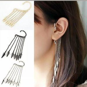 Unisex Spikes & Chain Ear Cuff Gold Silver Black